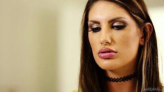 Hot babe August Ames fucks a handsome lover in an office
