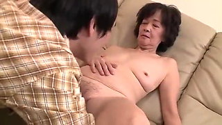 Japanese 70 year old Granny gets fucked by 2 young men
