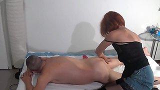 Slutty masseuse over 50 sucks Max's cock