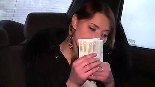 Innocent-looking teen hottie flashes for money