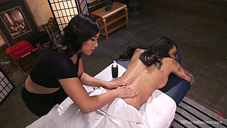 Asian masseur gives a massage and a blowjob to seductive tranny Honey FoXXX