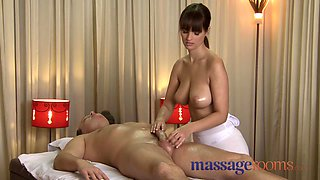 Massage Rooms Rita oils up her massive soaked love melons on a ramrod
