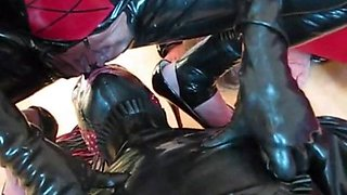 piss for the sissy slave from rubber mistress and cumshot