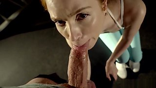 Pepper Hart creampied on gym