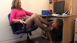 Worshiping my dominant mother-in-law's delicious feet in pantyhose