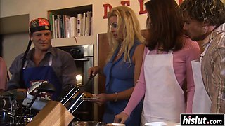 Horny Vanessa bangs in the kitchen