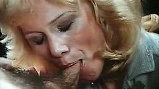 Blonde classic European milf sucks dick to eat cum