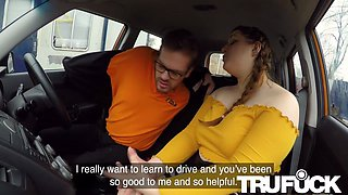 Estella Bathory In Cute BBW crashes the car for REAL