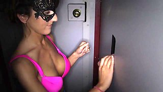 Wife in mask at the video booth