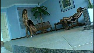 Charming leggy MAYARA and LUANA lures black stud for hot FFM 3some
