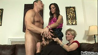 Syren De Mer and Madeline Hunter give blowjob to bisexual dude