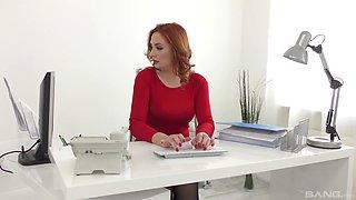 Redhead secretary Eva Berger fucks her boss and swallows his load