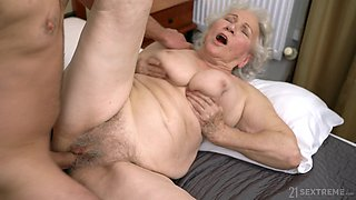 Emotional chubby mature whore Norma B gets hairy pussy licked and fucked