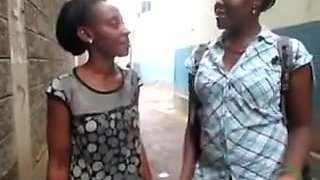 African Lesbos Naughty Amateur Pussy Play In The Toilet