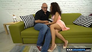 grandpa dicks a hot tiny mexican teen in her wet pussy