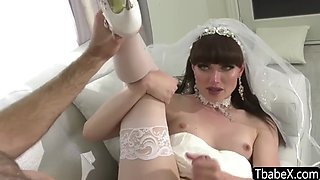 Newly wed brunette ts beauty Natalie Mars gets analed