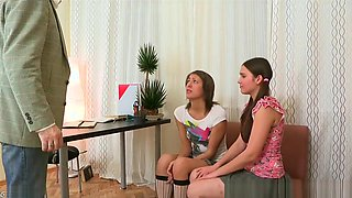 Two Cute Teen Girl Student Fucked by Her Aged Teacher