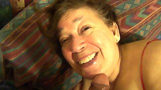 Mexican grandmother loves to suck cock and plays with her dildo