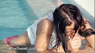 Incredible pool wow sex with hungry babe