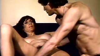 Lovely retro MILF gets her big boobies sucked and bushy muff licked