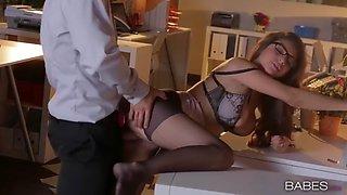 gorgeous secretary nina north having a wild fuck in an office