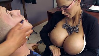 Huge tits office sluts fucking a big cock employee