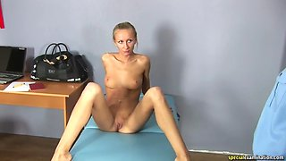 Special examination of ekaterina 20 customs strip search embarrassed full nude complete exam gyno enf cmnf forced