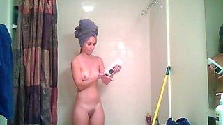 Hidden cam - Blonde girlfriend during and after shower