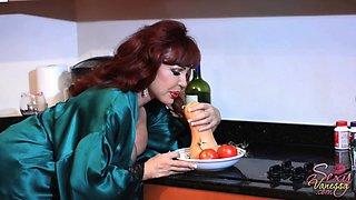 Sexy Vanessa uses massive vegetables during a masturbation session