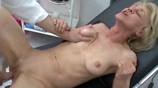 Skinny German granny impaled at doctor's office
