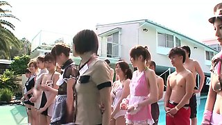 Cosplay teens cockriding at pool party