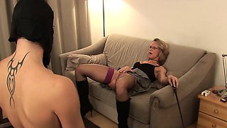 Sexy blonde MILF with glasses loves masturbating and