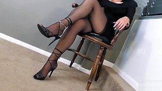 Nylon feet domination