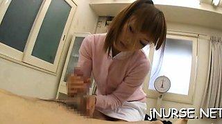 Needy oriental nurse removes undies for slutty patient