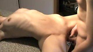 Slim blonde milf gets deep fucking and creampie in the kitchen
