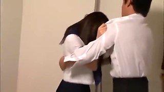 Japanese teen get fucked in bathroom school