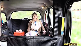 Blonde nurse Crissy fucked in the taxi