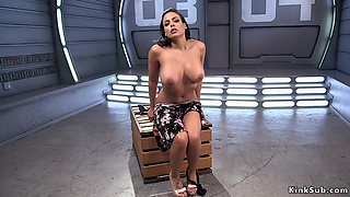 Huge tits sweat Latina fucks machine
