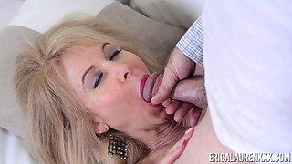 Experienced blonde Erica Lauren wants to seduce a mature hunk