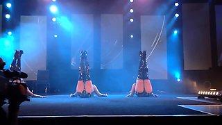 Attractive amateur dancers putting on a wonderful strip show