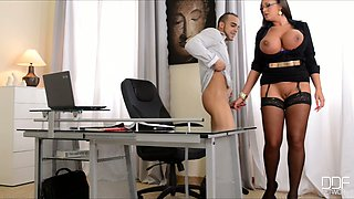 Impressively voracious brunette boss in glasses sucks her worker's strong dick