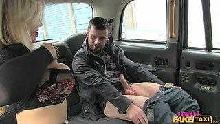 Yummy buxom mom in stockings sucks big cock on the back seat of car