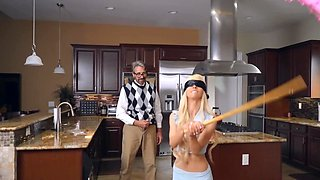 Petite minx analyzed by friend's perverted stepdad in kitchen