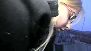 Surprised blonde in glasses fucking a stranger outside