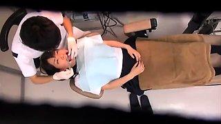 Dazzling Oriental schoolgirl getting used by horny dentists