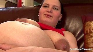 Pregnant girl in a red top is horny