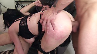 A sexy milf is having rough sex with two guys that are with her