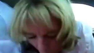 Dirty mature secretary sucks boss off in car