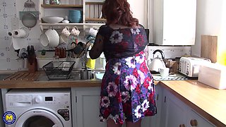 Redhead BBW amateur mature MILF masturbates in the kitchen