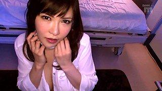 Big natural tits nurse giving cock stunning titjob